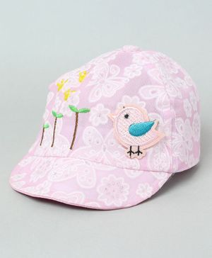 TMW Kids Cute Floral Print Bird Applique Summer Cap - Pink