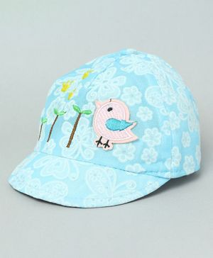TMW Kids Cute Floral Print Bird Applique Summer Cap - Turquoise