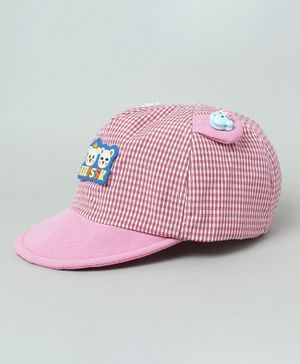 TMW Kids Checkered Summer Cap with Teddy Ear - Red
