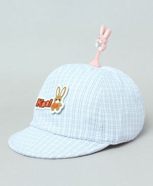 TMW Kids Checkered Cap With Bunny Bopper - Light Blue