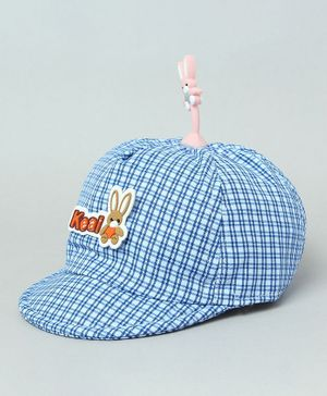 TMW Kids Checkered Cap With Bunny Bopper - Royal Blue