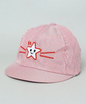 TMW Kids Striped Summer Cap with Star Patch - Red