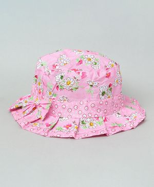TMW Kids Daisy Print Bucket Hat with Pleated Trim Bow - Pink