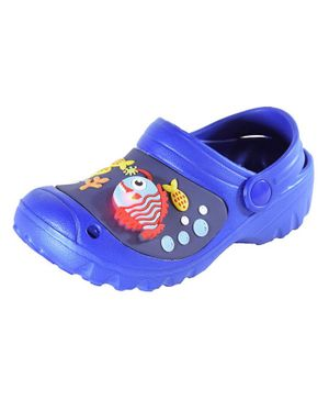Yellow Bee Fish and Crab Design Detailing LED Clogs - Dark Blue
