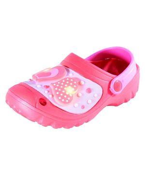 Yellow Bee Heart Embellished LED Clogs - Pink