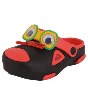 Yellow Bee Mouse Design Clogs - Black