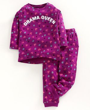 Ventra Full Sleeves Hearts Printed Night Suit - Purple