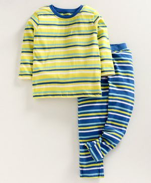 Ventra Striped Full Sleeves Night Suit - Yellow Blue & White