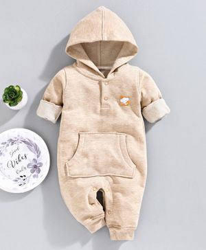 Little Kangaroos Full Sleeves Hooded Romper - Beige