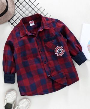 Babyhug Full Sleeve Checks  Shirt - Red & Blue