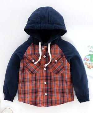 Babyhug Raglan Sleeves Hooded Check Shirt - Blue Orange