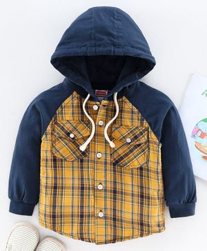 Babyhug Raglan Sleeves Hooded Checked Shirt - Yellow