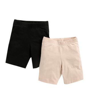 Charm n Cherish Pack Of Two Solid Shorts - Cream & Black