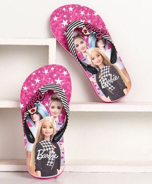 Barbie Printed Flip Flops - Pink Black