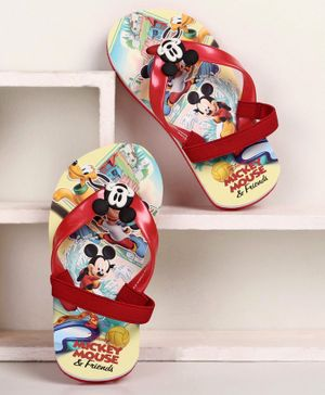 Disney Flip Flops Mickey Mouse Print - Red