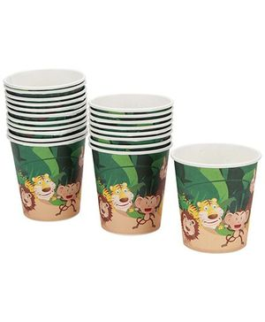 Karmallys Paper Cups with Jungle Animal Print - 200 ml