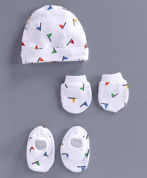 Simply Cap Mittens & Booties Set Flag Print - White