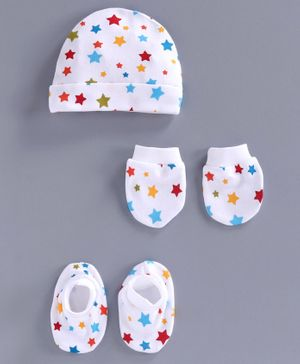 Simply Cap Mittens & Booties Set Star Print - White