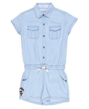 GINI & JONY Solid Short Sleeves Jumpsuit - Blue