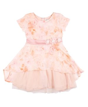GINI & JONY Cap Sleeves Rose Flower Printed Fit And Flare Dress - Peach