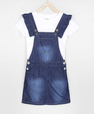 GINI & JONY Solid Short Sleeves Top With Dungaree - White & Blue