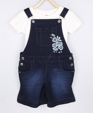 GINI & JONY Solid Short Sleeves Top With Flower Printed Dungaree - White & Blue