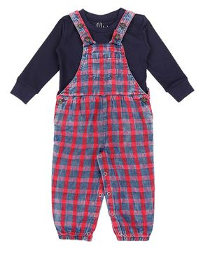 GINI & JONY Full Sleeves Tee With Checked Dungaree - Blue