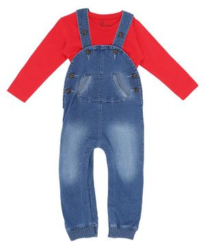 GINI & JONY Full Sleeves Solid Tee With Dungaree - Red Blue