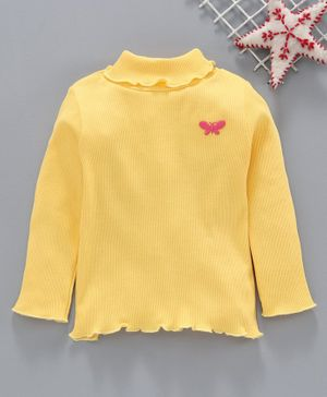 Babyhug Cotton Full Sleeves Tee Butterfly Embroidered - Yellow