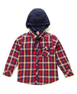 Babyhug Full Sleeves Hooded Checked Cotton Shirt - Red