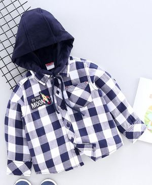 Babyhug Full Sleeves Hooded Checked Shirt - Navy Blue