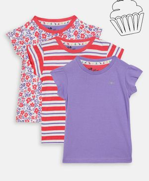 Blue Giraffe Pack Of 3 Short Sleeves Striped & Floral Print Tee - Red & Purple