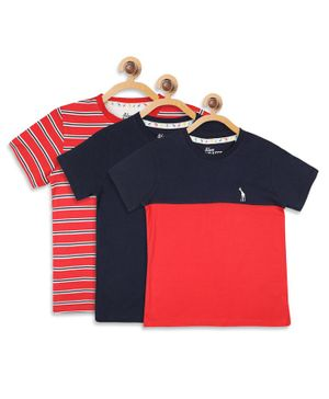Blue Giraffe Pack Of 3 Striped & Solid Half Sleeves Tee - Red & Navy Blue