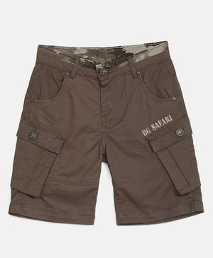 Blue Giraffe Solid Front Pocket Shorts - Brown