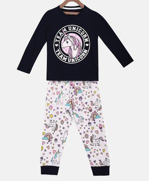 Little Marine Full Sleeves Unicorn Printed Night Suit - Navy Blue