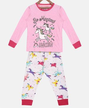 Little Marine Full Sleeves Unicorn Print Detailing Night Suit - Pink