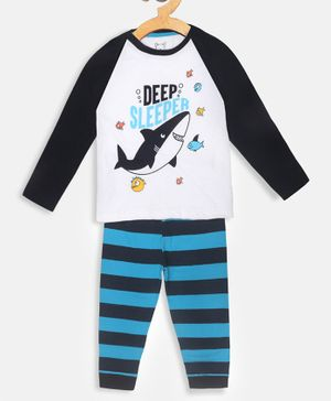 Little Marine Raglan Full Sleeves Baby Shark Printed Night Suit - White & Blue