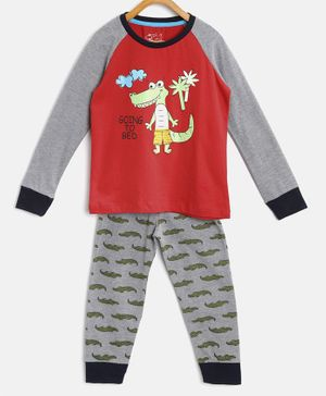 Little Marine Raglan Full Sleeves Crocodile Printed Night Suit - Grey & Red