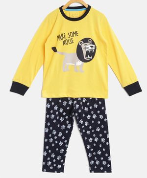 Little Marine Full Sleeves Lion Print Detailing Night Suit - Yellow