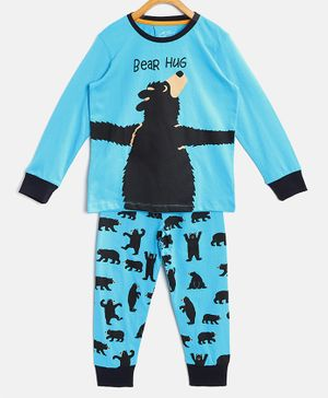 Little Marine Full Sleeves Bear Print Detailing Night Suit - Blue