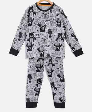 Little Marine Full Sleeves Bear Print Detailing Night Suit - Grey