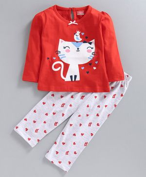 Babyhug Full Sleeves Night Suit Kitty Print - Red