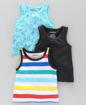 Babyoye Sleeveless Printed & Striped Vest Pack of 3 - Blue Grey