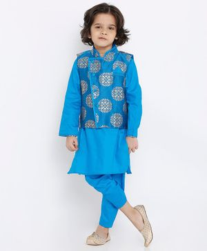 Babyoye Full Sleeves Kurta & Pajama Set with Brocade Jacket Set - Blue