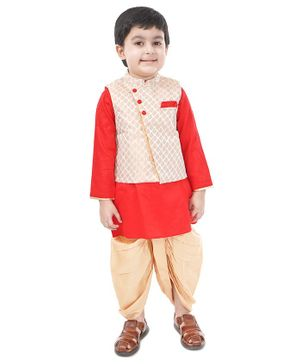 Babyoye Full Sleeves Cotton Kurta and Dhoti with Brocade Jacket - Red