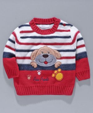 Babyoye Acrylic Full Sleeves Stripe Sweater Puppy Embroidery - Red White