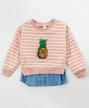 Kookie Kids Full Sleeves Striped Frock Pineapple Print - Pink