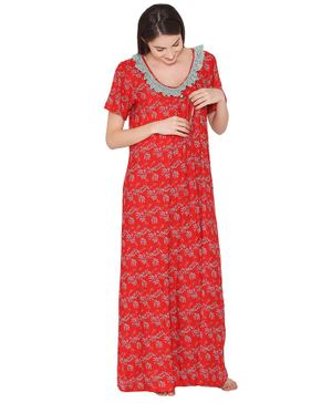 Clovia Half Sleeves Floral Print Maternity Nighty - Red