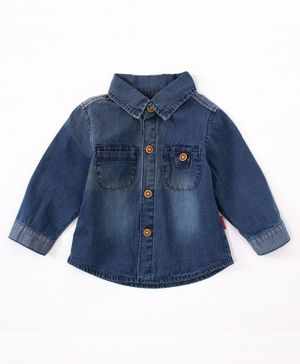 Kookie Kids Full Sleeves Washed Denim Shirt - Blue