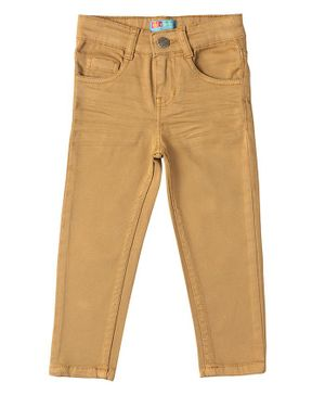 Kid Studio Solid Full Length Slim Fit Chinos Pants - Brown